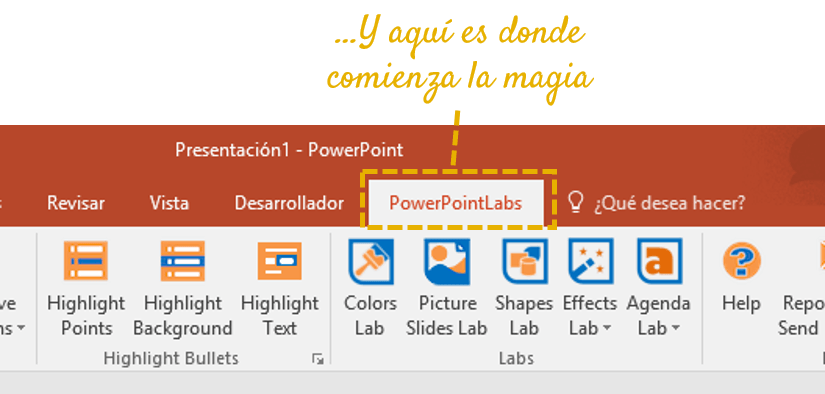 powerpoint labs ribbon